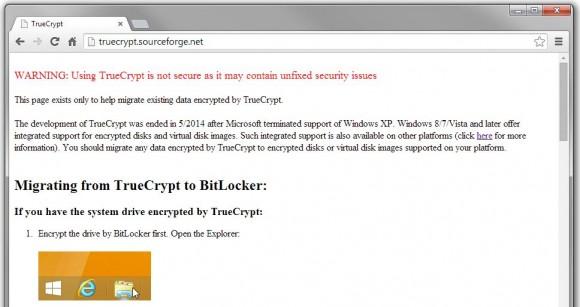 Die Entwickler von TrueCrypt haben das Verschlüsselungs-Tool mit Hinweis auf ungepatchte Sicherheitslücken eingestellt (Screenshot: ZDNet).