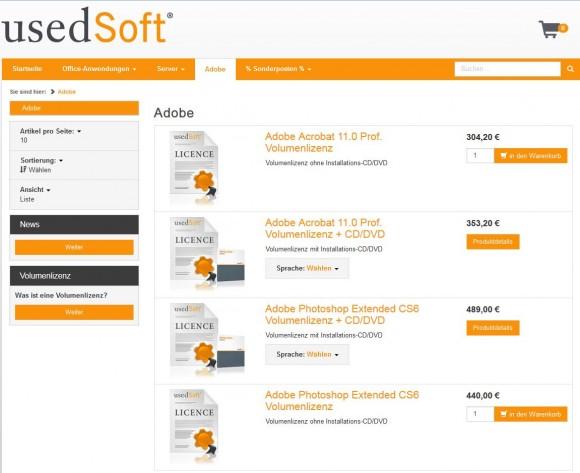Usedsoft bietet jetzt auch wieder Adobe-Lizenzen an (Screenshot: ITespresso).