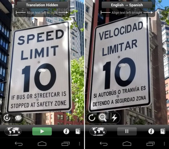 Die von Google gekaufte App Word Lens kann Texte auf Verkehrsschildern übersetzen (Bild: Quest Visual).