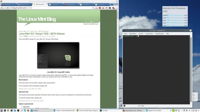 Linux Mint 18.2 mit KDE-Oberfläche (Screenshot: ZDNet.de)