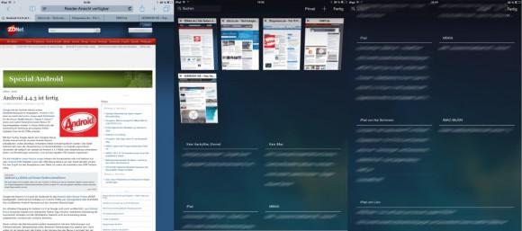 iOS 8: Eine Übersicht geöffneter Webseiten erhält man unter Safari auf dem iPad mit dem aus zwei versetzten Vierecken bestehenden Symbol, das sich ganz rechts in der oberen Leist befindet (Screenshot: ZDNet.de).