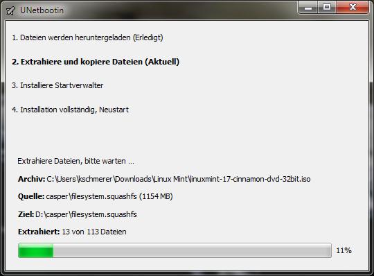 UNetbootin: Manuelle Auswahl der Mint-ISO (Screenshot: ZDNet.de)