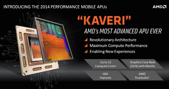 Die Kaveri-APUs bieten bis zu zwölf Rechenkerne, vier zur Anwendungs- und acht zur Grafikberechnung (Bild: AMD).