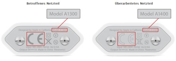 Betroffen sind alle iPhone-Netzteile mit der Modellnummer A1300 und dunklem CE-Siegel (Screenshot: ZDNet.de)