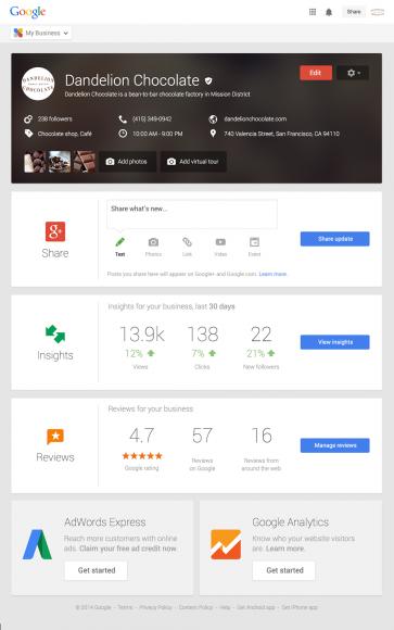 Via Google My Business können Unternehmen ihre Angaben für die Websuche, Google Maps oder Google+ zentral verwalten (Grafik: Google).