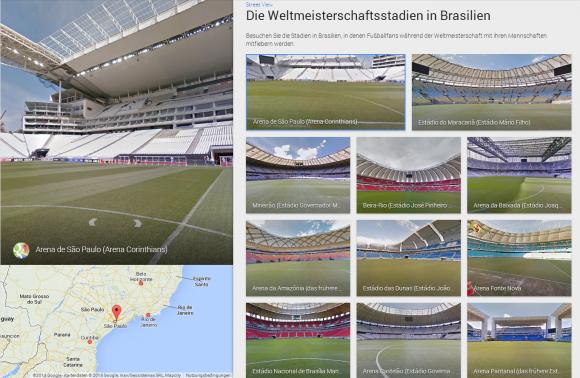 Google Street View zeigt jetzt Fotos und Panoramaansichten der zwölf WM-Stadien in Brasilien (Screenshot: ZDNet.de).