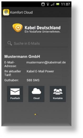 Die Komfort-Cloud-App für Android und iOS vereint Cloudspeicher und E-Mail-Service von Kabel Deutschland, sodass sich beide Angebote mit einem Programm nutzen lassen (Bild: Kabel Deutschland).