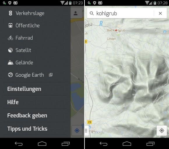 Google Maps 8.1 für Android bietet wieder eine Geländeansicht (Screenshot: ZDNet).