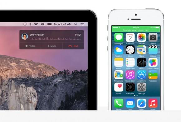 Nutzer können mit OS X 10.10 Yosemite Anrufe entgegennehmen, wenn sich ihr iPhone im selben WLAN-Netz befindet wie ihr Mac (Bild: Apple).