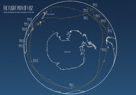 Flugbahn des Ballons Ibis 152 (Bild: Google)