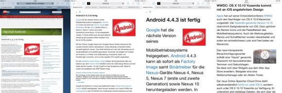 Safari unter iOS 8: Lesemodus erlaubt Anpassung der Textgröße (Screenshot: ZDNet.de)