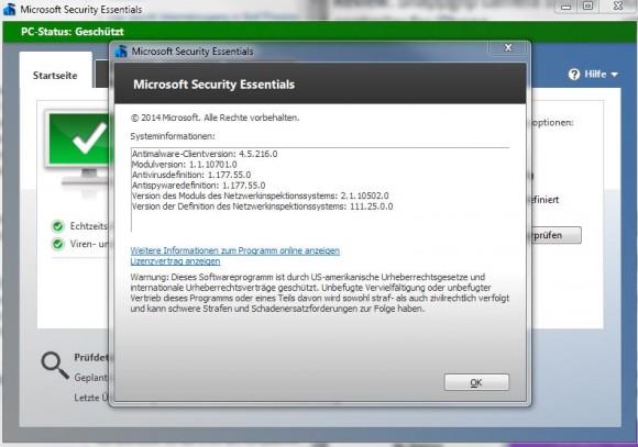 """Nutzer von Microsoft Security Essentials können im Hilfe-Menü unter dem Punkt """"Info"""" feststellen, ob die Malware Protection Engine schon auf die fehlerbereinigte Version 1.1.10701.0 oder höher aktualisiert wurde (Screenshot: ZDNet)."""