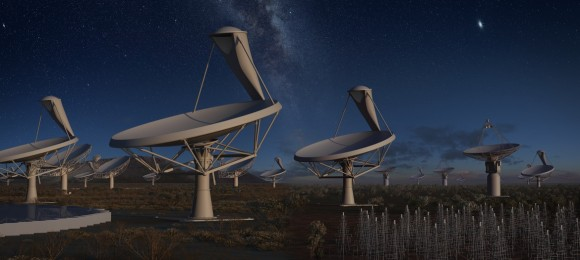 Funkteleskop Square Kilometre Array bei Nacht (Bild: SKA)