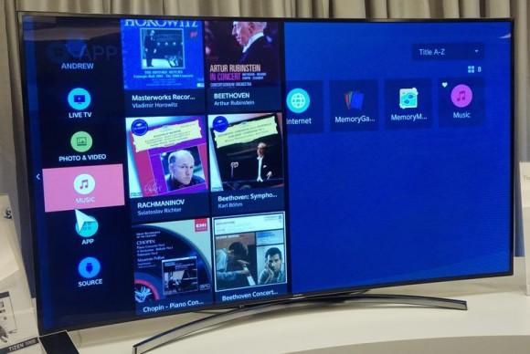 Samsung enthüllte auf der Tizen Developer Conference in San Francisco den Prototyp eines Fernsehers mit Tizen OS (Bild: Nate Ralph/CNET).