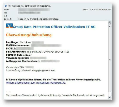 Die Banking-Malware EMOTET wird unter anderem über angebliche E-Mails der Volksbank verbreitet (Bild: Trend Micro).
