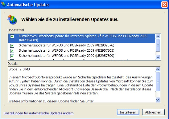 Windows XP: Der Registry-Hack funktioniert auch im Juni (Screenshot: ZDNet.de)