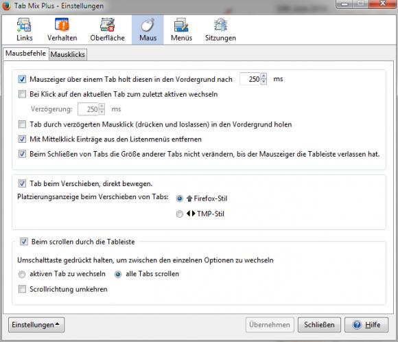 Firefox-Add-on: Tab Mix Plus (Screenshot: ZDNet.de)