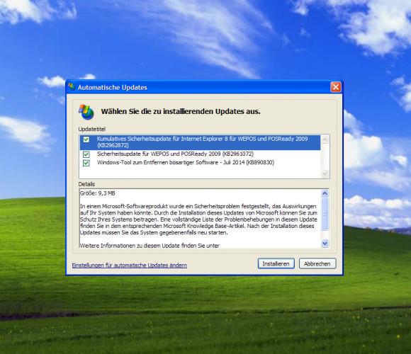 Windows XP: Durch einen Registry-Hack erhalten XP-Anwender auch im Juli Sicherheitsaktualisierungen (Screenshot: ZDNet.de)