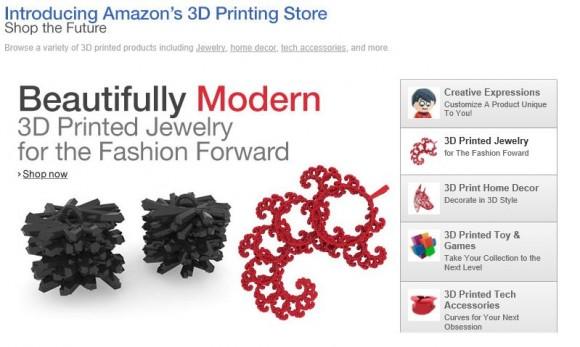 Amazon bietet in seinem 3D Printing Store unter anderem Schmuck und Spielzeug an (Bild: Amazon).