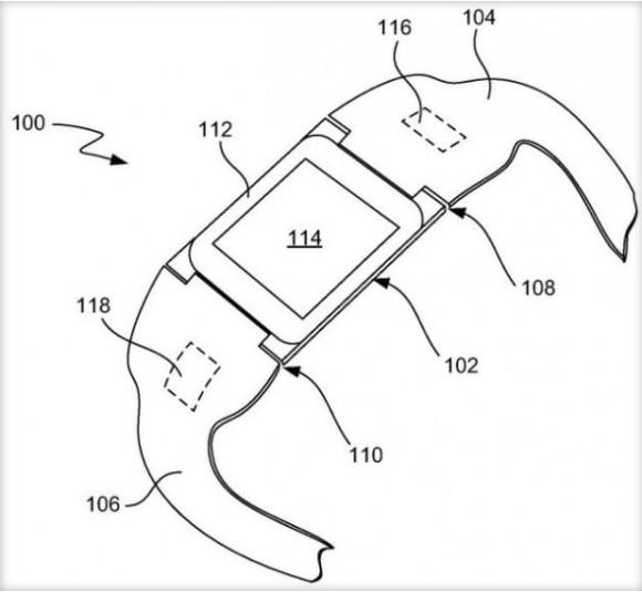 """Apple hat ein Patent für ein """"am Handgelenk getragenes elektronisches Gerät"""" erhalten, das auch mögliche Funktionen einer Smartwatch beschreibt (Bild: Apple/USPTO)."""