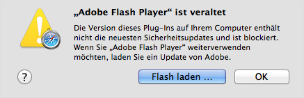 Flash-Hinweisfenster in Safari (Bild: Apple)