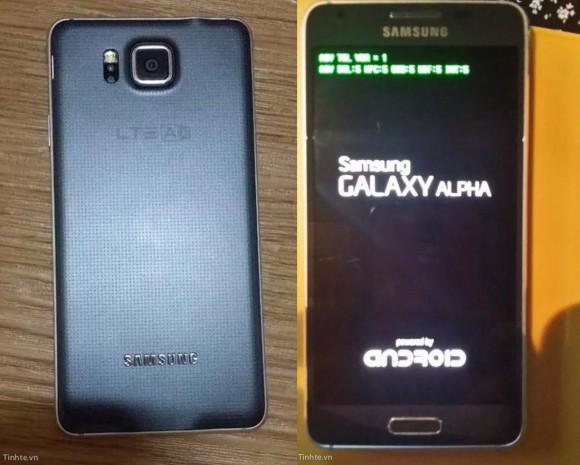 "Das Design des Galaxy Alpha ähnelt dem des Galaxy S5 (Bild <a href=""http://www.tinhte.vn/threads/ro-ri-samsung-galaxy-alpha-vien-kim-loai-mep-mong-co-the-la-ban-som-cua-f.2331590/"" target=""_blank"">via Tinhte.vn</a>)."