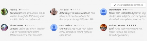 Negative Kritiken für Google Play Dienste (Screenshot: ZDNet)