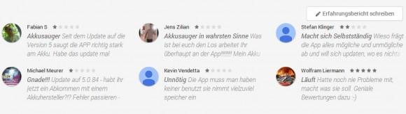 Negative Kritiken für Google Play Dienste (Screenshot: ZDNet)