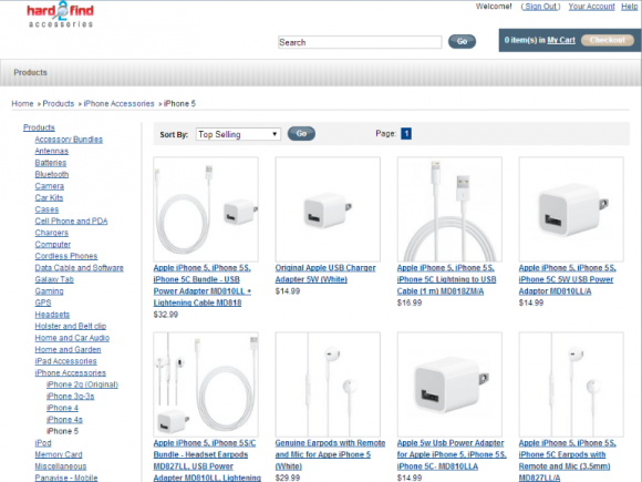 Website von Hard 2 Find Accessories (Screenshot: ZDNet.de)