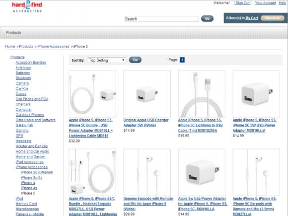 Website von Hard 2 Find Accessories (Screenshot: ZDNet.de)