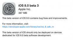 Apple hat iOS 8 Beta 3 an Entwickler verteilt (Screenshot: ZDNet).