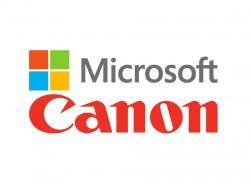 Logos von Microsoft und Canon