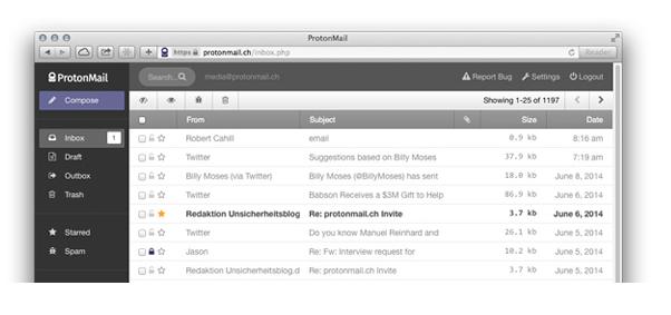 ProtonMail im Einsatz (Screenshot: ProtonMail)