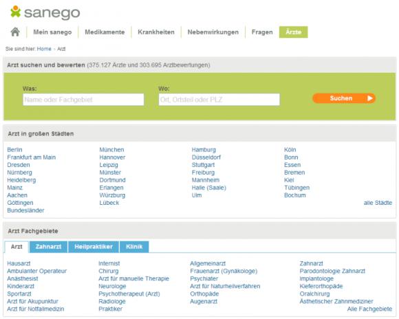 Bewertungsportale wie Sanego müssen Nutzerdaten nicht herausgeben, außer es liegt ein Straftatbestand vor (Screenshot: ZDNet.de).
