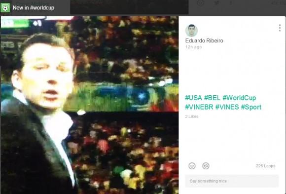 Das WM-Spiel USA gegen Belgien in einer sechs Sekunden langen Zusammenfassung wurde auf Vine bisher 226-mal abgerufen (Screenshot: ZDNet).