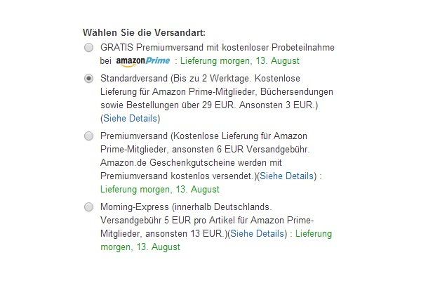 Versandoptionen bei Amazon (Screenshot: ZDNet.de)