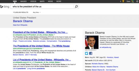 Suche nach dem US-Präsidenten auf Bing (Screenshot: Dara Kerr/CNET)