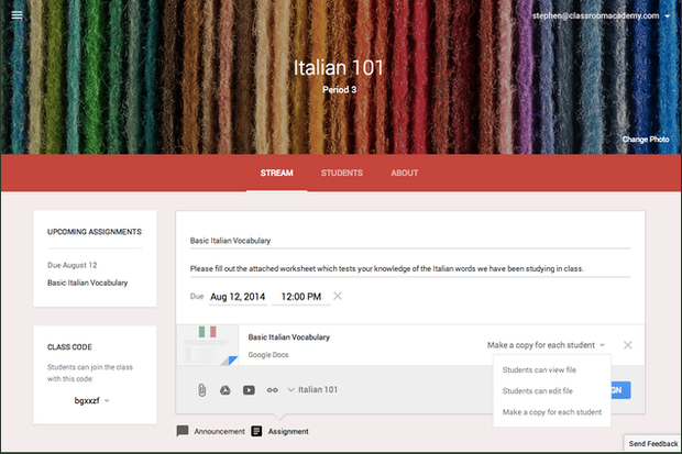 Kursinformation in Classroom (Screenshot: Google)