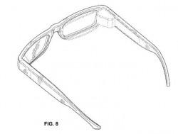 Auf der Innenseite des Brillengestells verborgener AR-Projektor (Grafik: Google, via USPTO)