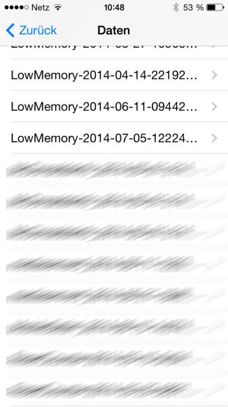 iPhone 5S: LowMemory