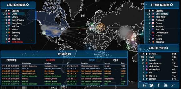 Echtzeit-Karte von Internetangriffen (Quelle: Norse)