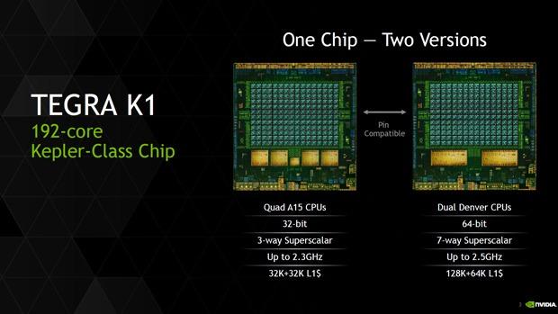Den Tegra K1 gibt es in einer 32- und einer 64-Bit-Variante (Bild: Nvidia).