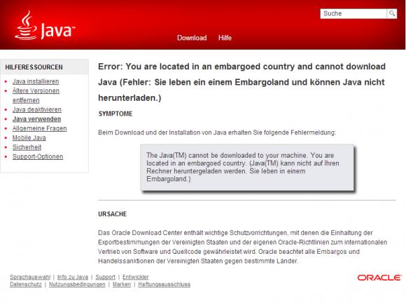 In Russland bekommen Nutzer beim Versuch, Java herunterzuladen, aktuell diese Fehlerseite zu sehen (Screenshot: ZDNet.de).