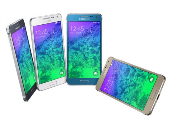 "Samsung bietet das Galaxy Alpha in den Farbvarianten Farben ""Charcoal Black"", ""Dazzling White"", ""Frosted Gold"", ""Sleek Silver"" und ""Scuba Blue"" an (Bild: Samsung)."