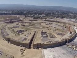 Drohne fliegt über Apple-Baustelle