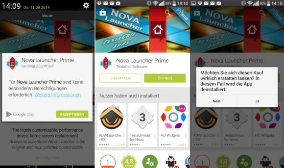 Android-Anwender können Apps innerhalb einer Frist von zwei Stunden zurückgeben, ohne dass die Kreditkarte belastet wird (Screenshot: ZDNet.de)