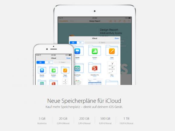 Apple hat die iCloud-Speicherpreise gesenkt und neue Kapazitäten eingeführt (Screenshot: ZDNet.de)