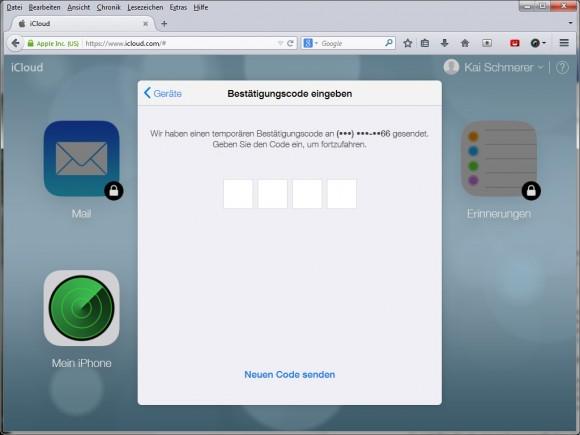 iCloud: Apple aktiviert Zwei-Faktor-Authentifizierung (Screenshot: ZDNet.de).