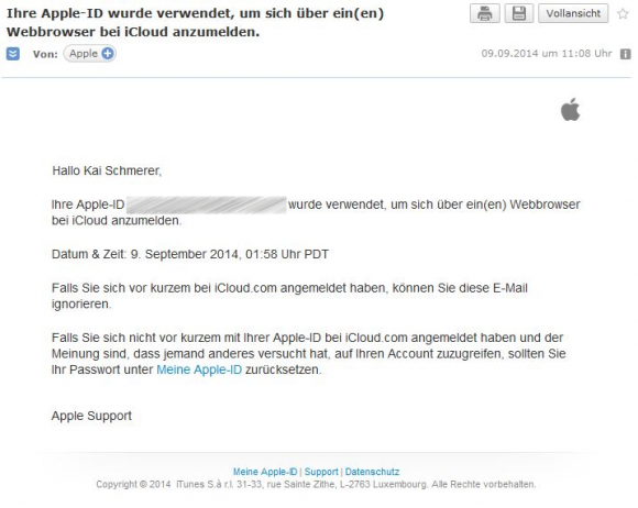 Warnhinweis per E-Mail (Screenshot: ZDNet.de)