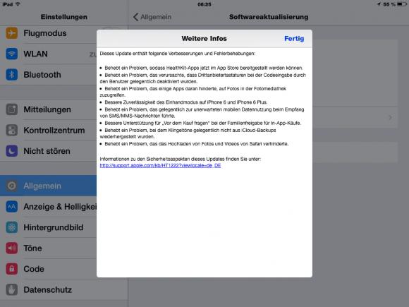 iOS 8.0.1 soll den Versionshinweisen zufolge unter anderem einen Fehler in der Healthkit-Plattform beseitigen (Screenshot: ZDNet).